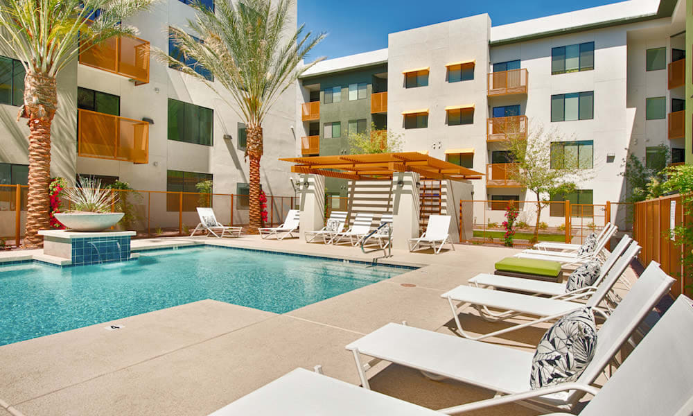 Luxurious swimming pool area at Cactus Forty-2 in Phoenix, Arizona