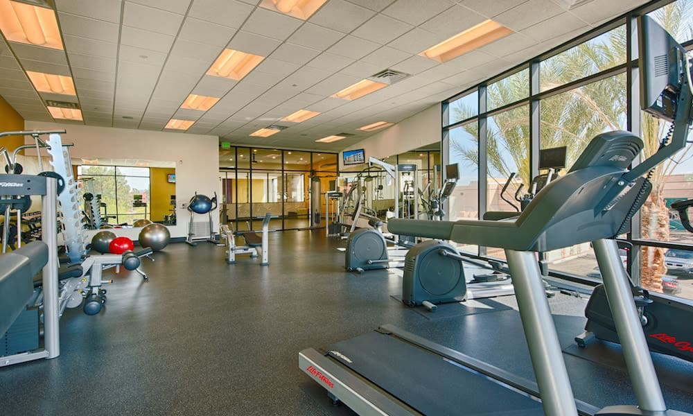 Plenty of equipment in the onsite fitness center at Cactus Forty-2 in Phoenix, Arizona