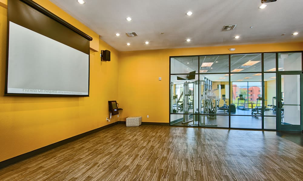 Yoga room at Cactus Forty-2 in Phoenix, Arizona