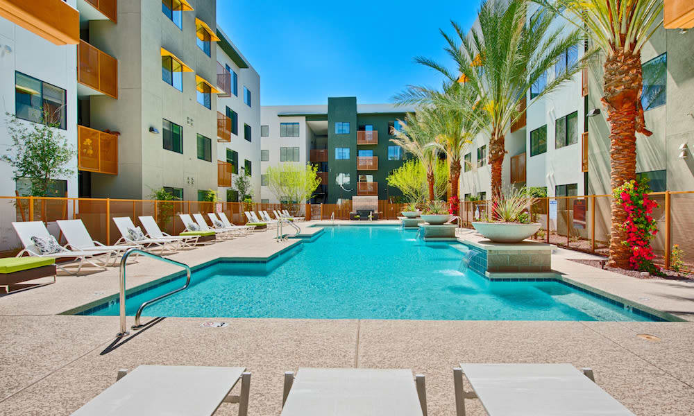 Resort-style pool and lounge chairs at Cactus Forty-2 in Phoenix, Arizona