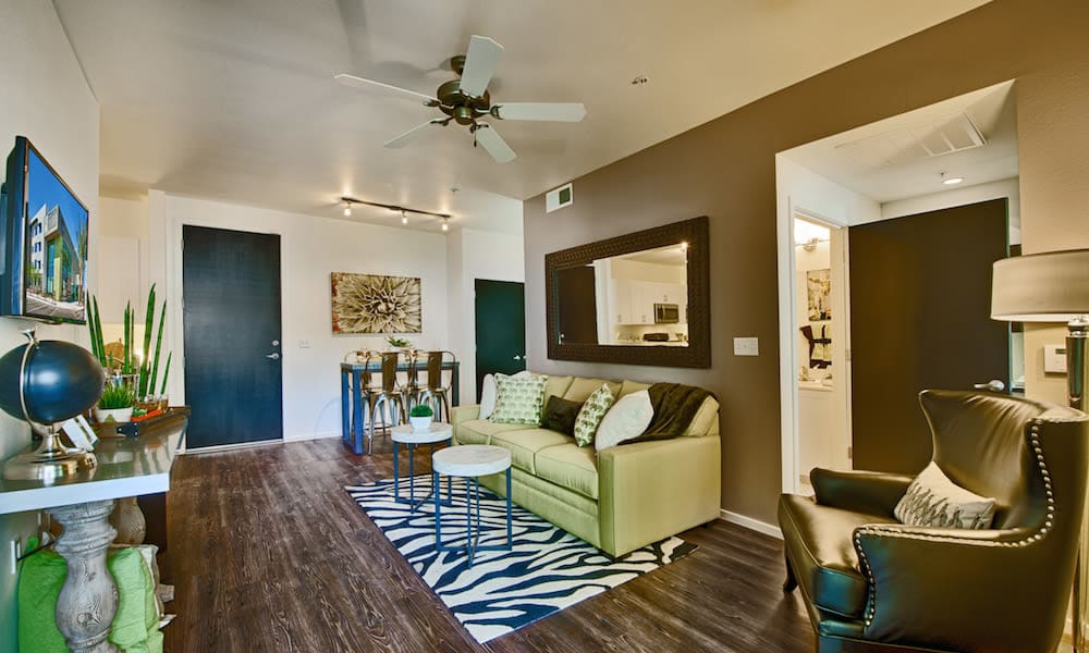 Spacious living area in a model home at Cactus Forty-2 in Phoenix, Arizona