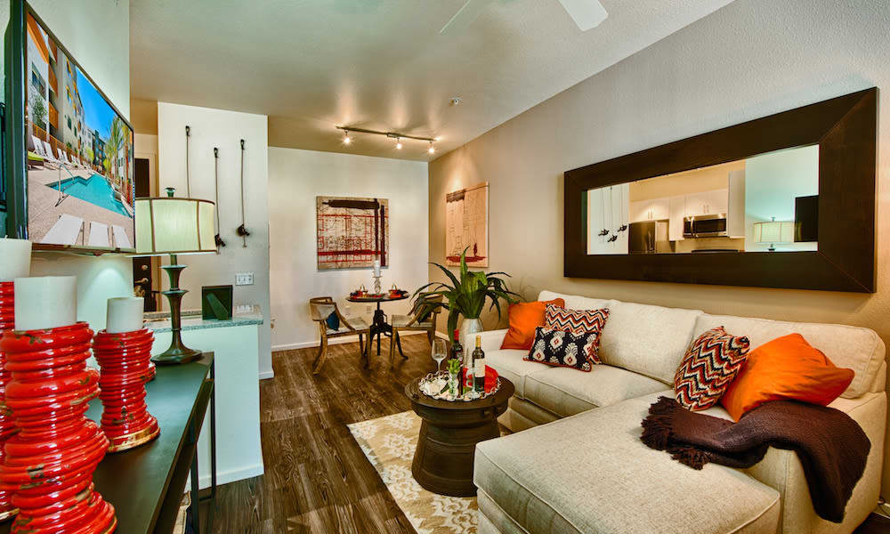 Modern decor in the living area of a model home at Cactus Forty-2 in Phoenix, Arizona