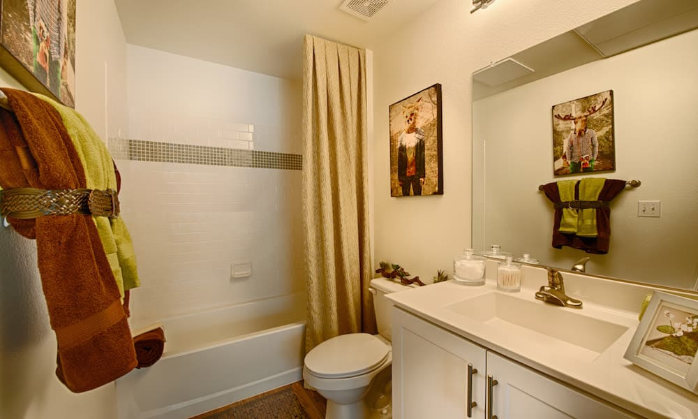 Large vanity mirror and tiled shower in a model home's bathroom at Cactus Forty-2 in Phoenix, Arizona
