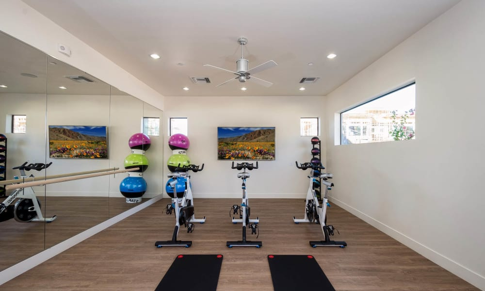 Spin class area in the fitness center at Cadia Crossing in Gilbert, Arizona