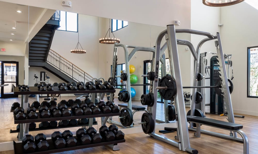 Free weights in the onsite fitness center at Cadia Crossing in Gilbert, Arizona