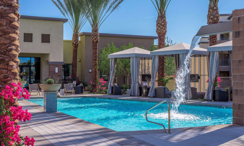 Fountain in the pool at Cadia Crossing in Gilbert, Arizona