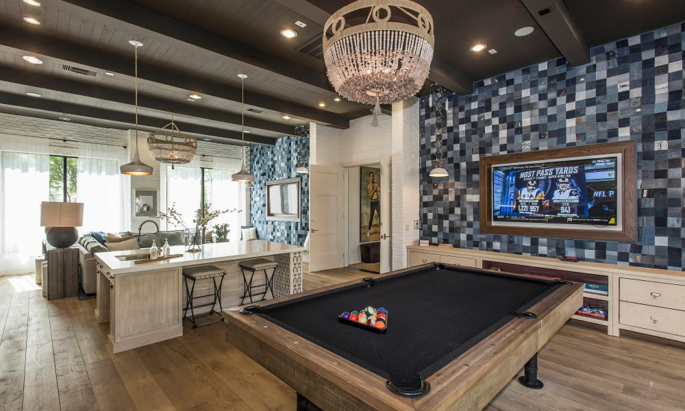 Billiards table in the clubhouse's game room at Cadia Crossing in Gilbert, Arizona