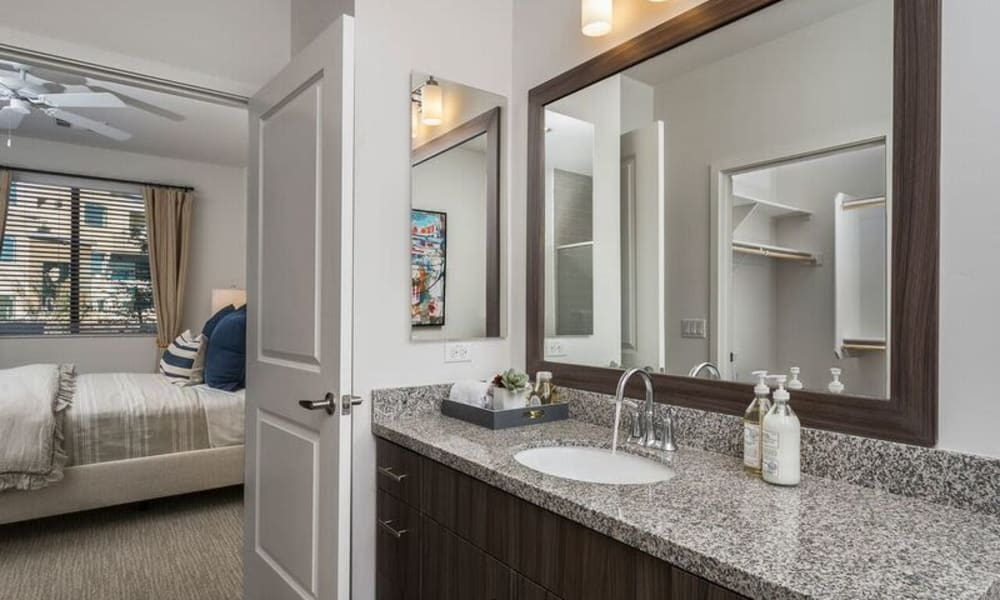 Ample countertop space in a model home's bathroom at Cadia Crossing in Gilbert, Arizona
