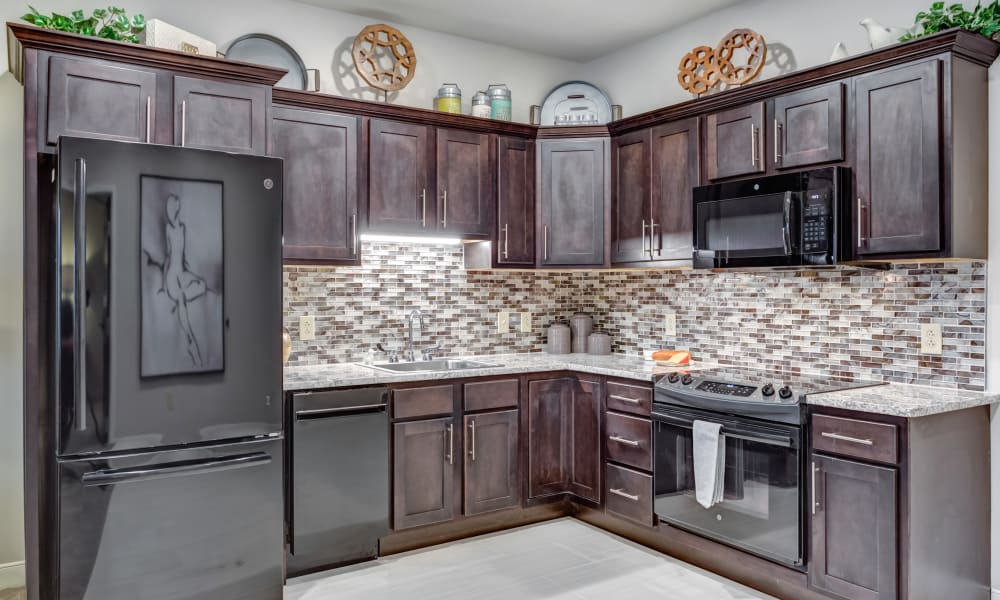 A model kitchen with upgraded appliances at Trilogy Health Services - Bowling Green in Bowling Green, Ohio