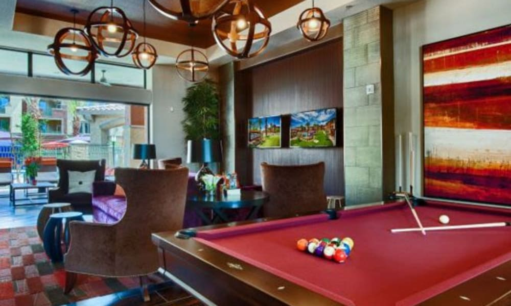 Billiards and more in the clubhouse game room at Elevation Chandler in Chandler, Arizona