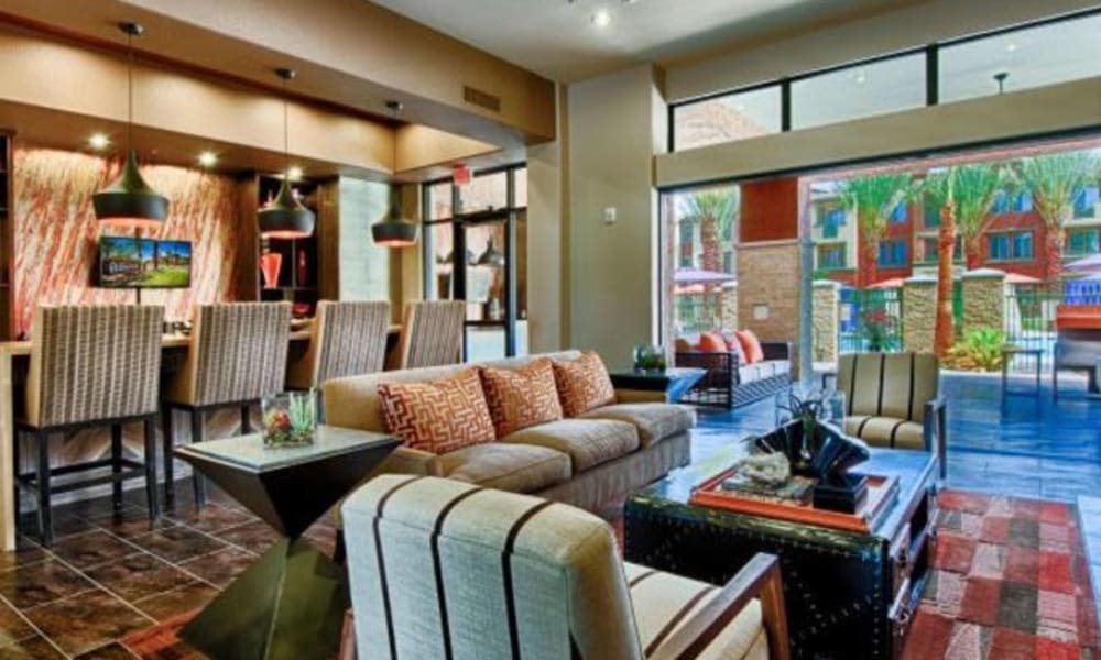 Plenty of seating in the colorfully decorated clubhouse at Elevation Chandler in Chandler, Arizona