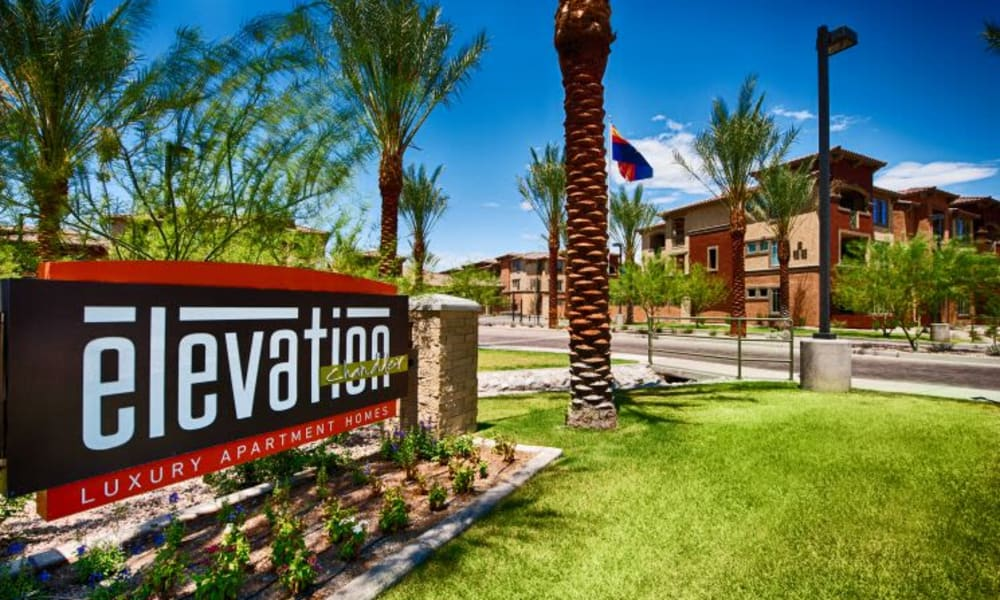 Our welcoming community sign at the entrance to Elevation Chandler in Chandler, Arizona