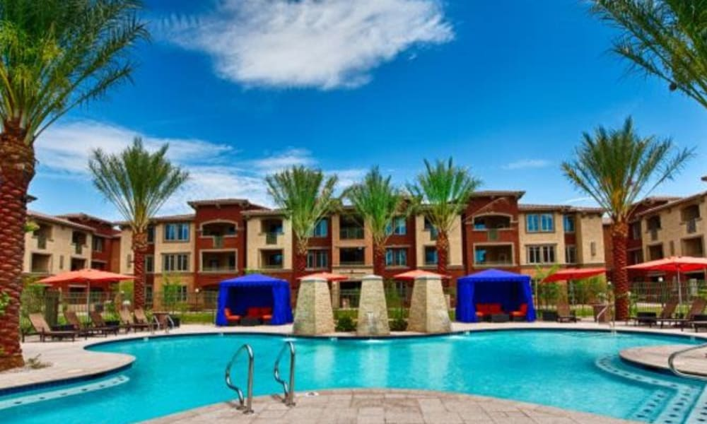 Gorgeous swimming pool on a beautiful day at Elevation Chandler in Chandler, Arizona