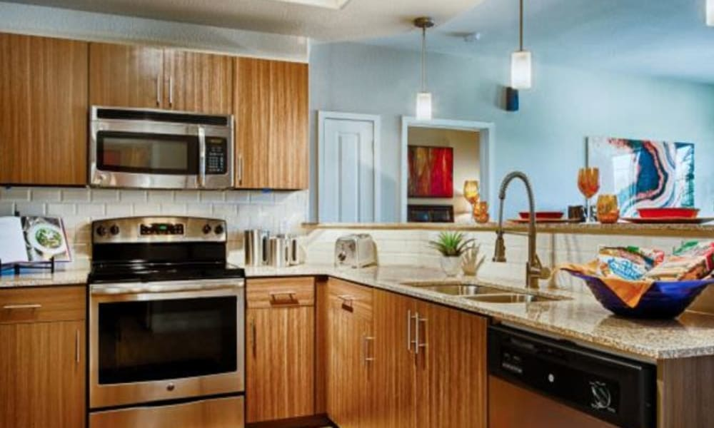 Stainless-steel appliances and granite countertops in a model apartment's kitchen at Elevation Chandler in Chandler, Arizona