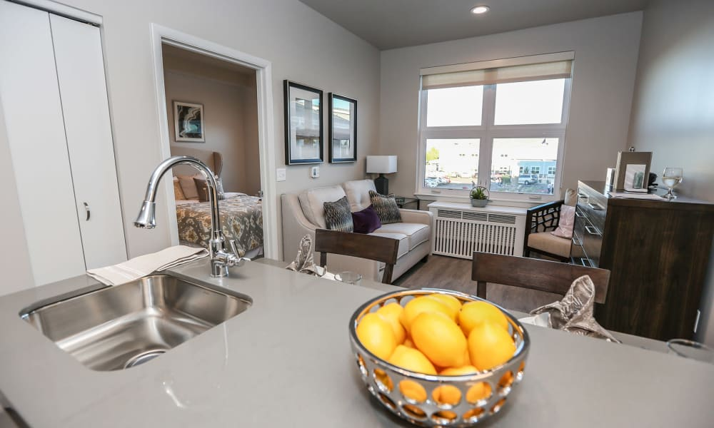 Apartment living room at Quail Park at Morrison Ranch in Gilbert, Arizona