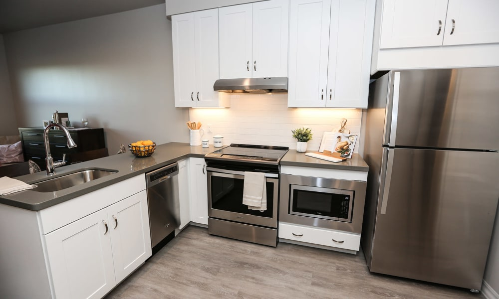 Modern apartment kitchen at Quail Park at Morrison Ranch in Gilbert, Arizona