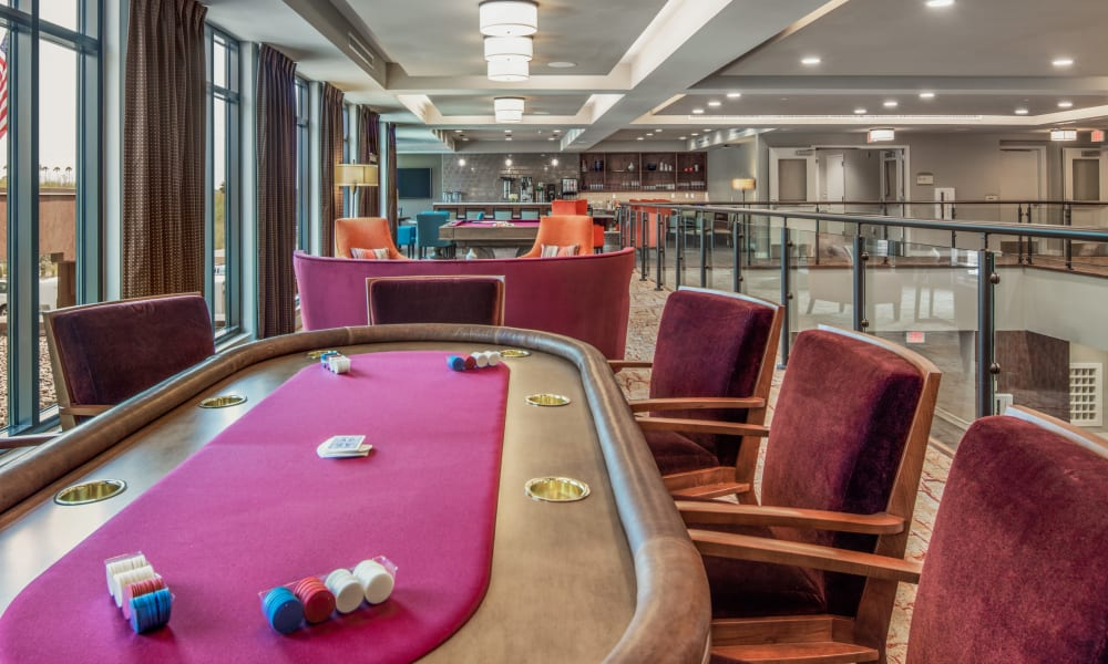 Poker table in the activity lounge at Quail Park of Oro Valley in Oro Valley, Arizona