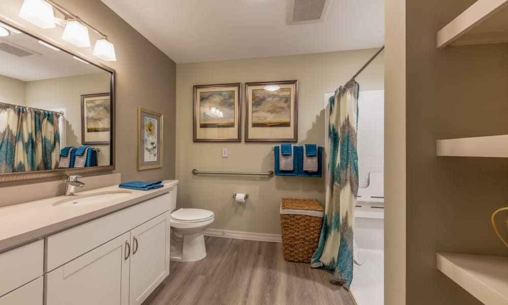 Bathroom inside a senior apartment at Quail Park of Oro Valley in Oro Valley, Arizona