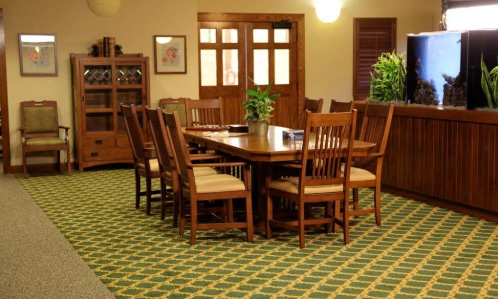 Private dining room at Quail Park Memory Care Residences of Visalia in Visalia, California