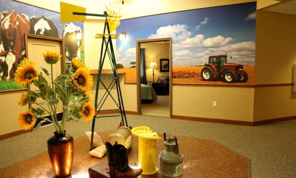 Farm themed hallway at Quail Park Memory Care Residences of Visalia in Visalia, California