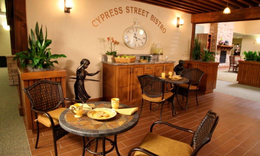 Restaurant style dining room at Quail Park Memory Care Residences of Visalia in Visalia, California