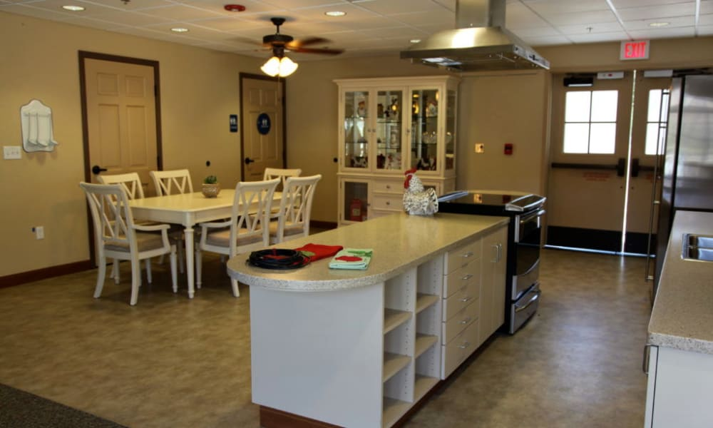Assisted Living community kitchen at Quail Park Memory Care Residences of Visalia in Visalia, California