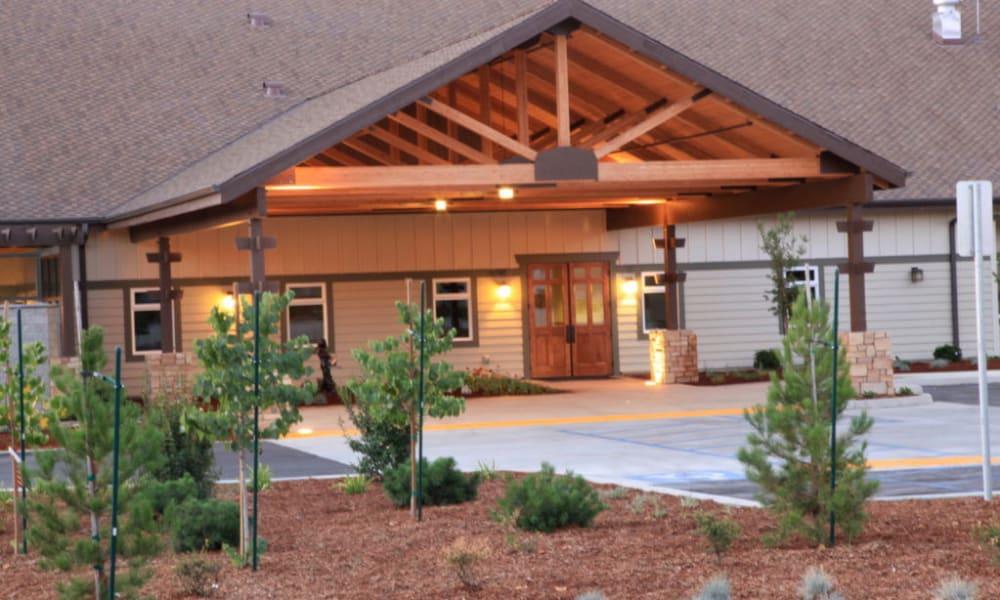 Main entrance to Quail Park Memory Care Residences of Visalia in Visalia, California