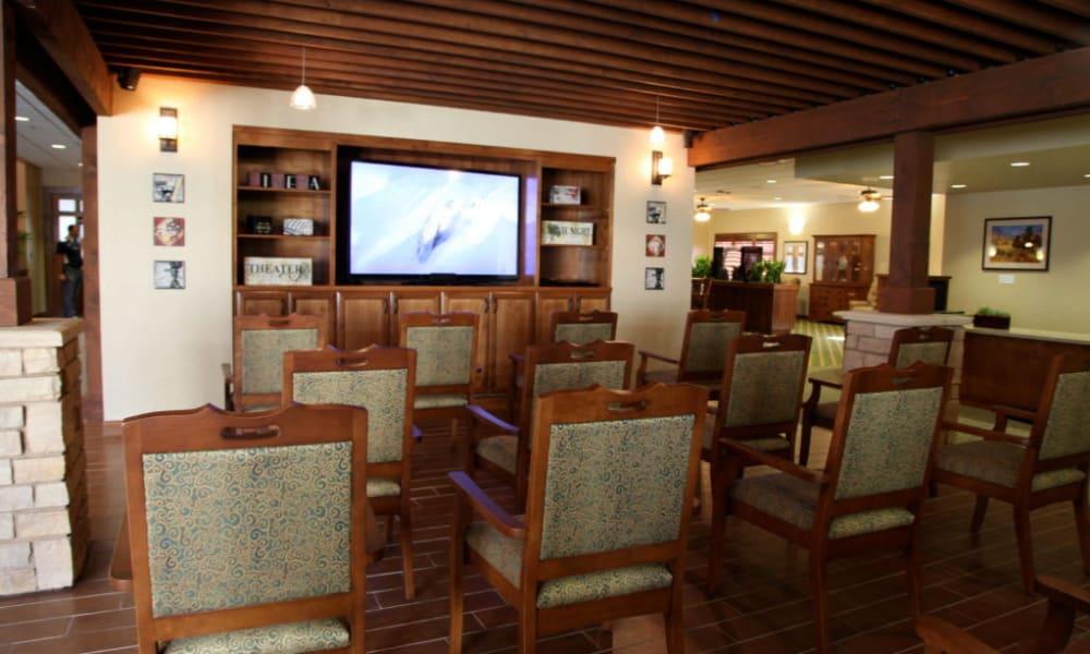 Open air tv room in Quail Park Memory Care Residences of Visalia in Visalia, California