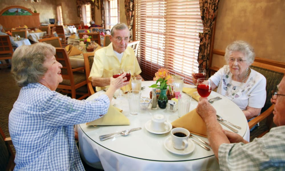 Residents eating breakfast in the dining hall at Quail Park on Cypress in Visalia, California
