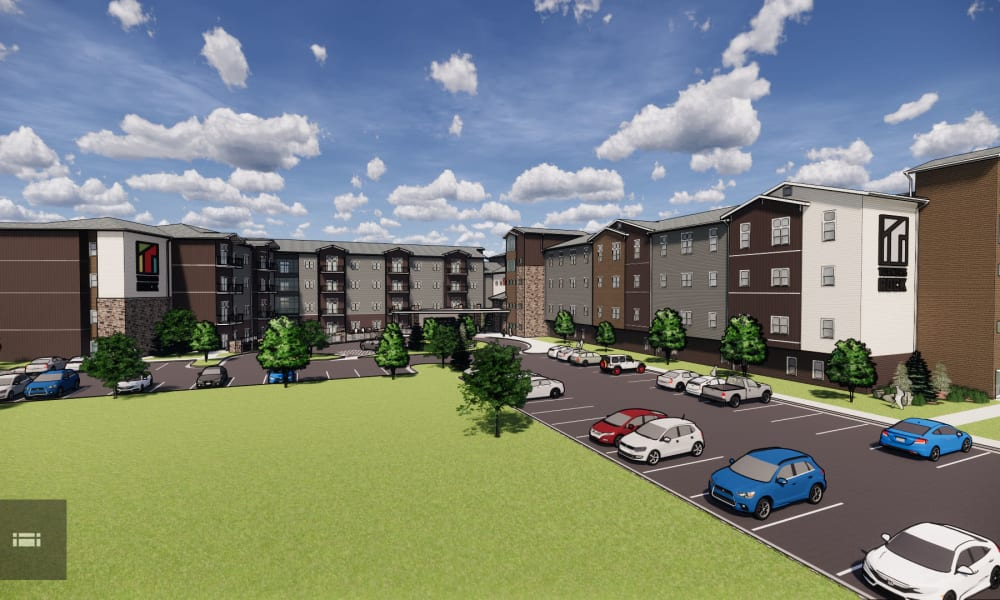 Rendering of main entrance and apartments at Turners Rock in Springfield, Missouri