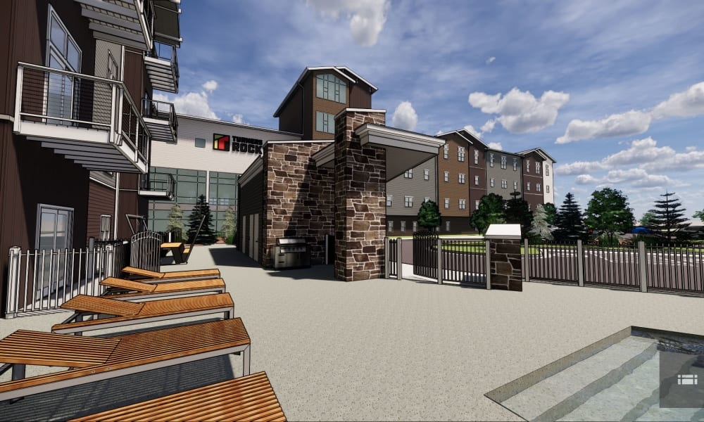 Rendering of deck and pool at Turners Rock in Springfield, Missouri