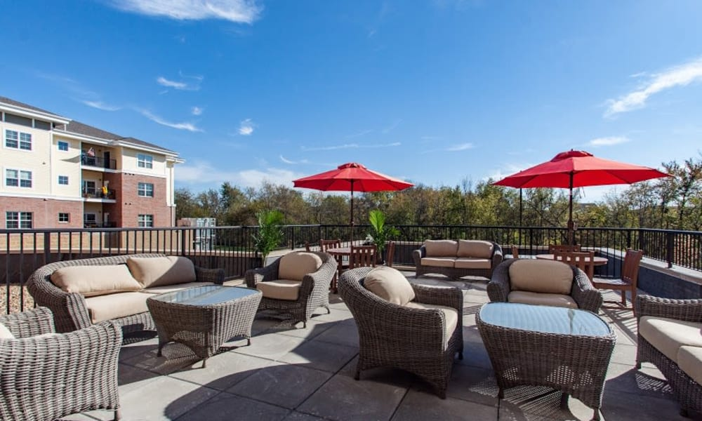 Terrace seating at Keystone Place at Richland Creek in O'Fallon, Illinois