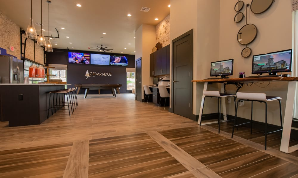 Business Center and game area at Cedar Ridge in Tulsa, Oklahoma