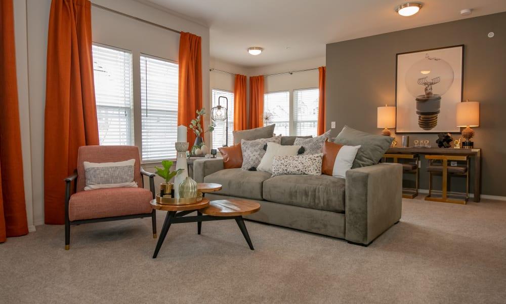 Spacious living room and dining nook at Cedar Ridge in Tulsa, Oklahoma
