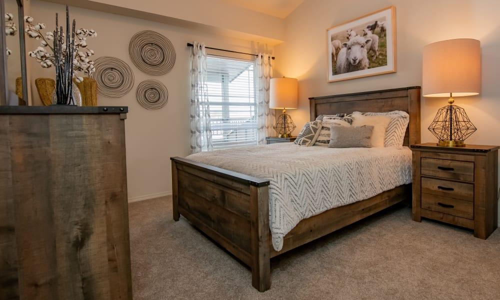Loft apartment bedroom at Cedar Ridge in Tulsa, Oklahoma