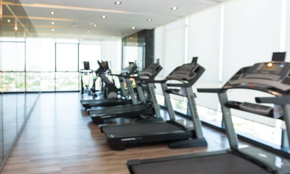 Treadmills and more in the fitness center at El Potrero Apartments in Bakersfield, California