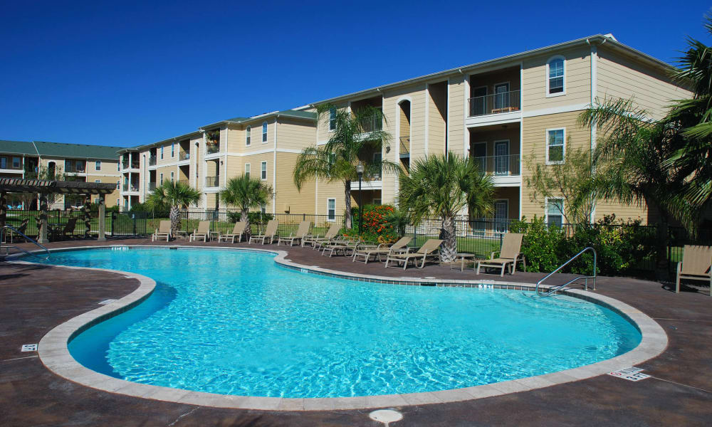 Swimming pool on a beautiful morning at Highland View Court in Bakersfield, California