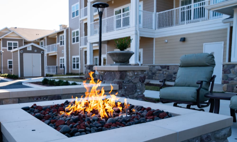 Fireside seating at The Savoy Gracious Retirement Living in Winter Springs, Florida