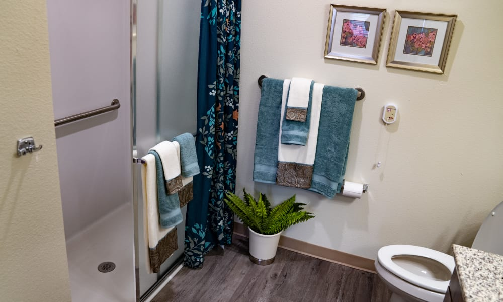 A bathroom at Camellia Gardens Gracious Retirement Living in Maynard, Massachusetts