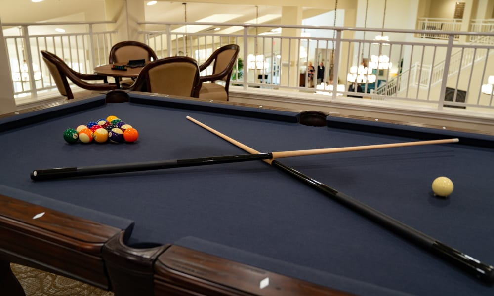 Billiards table at Camellia Gardens Gracious Retirement Living in Maynard, Massachusetts