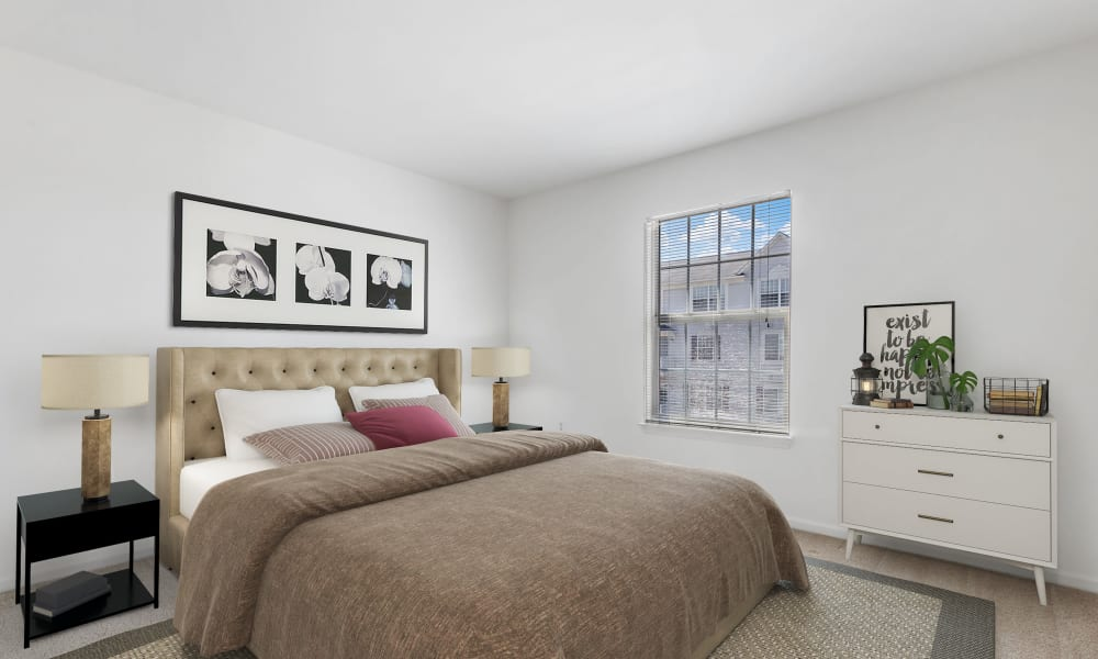 Bedroom with a view at Brownstones apartments