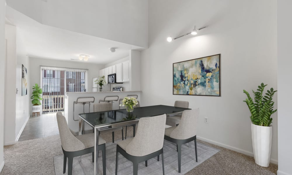 Enjoy a modern kitchen dining area at Brownstones apartments