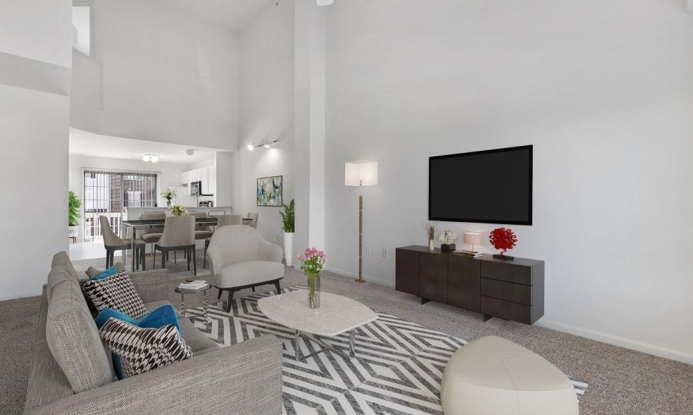 Model living room at Brownstones