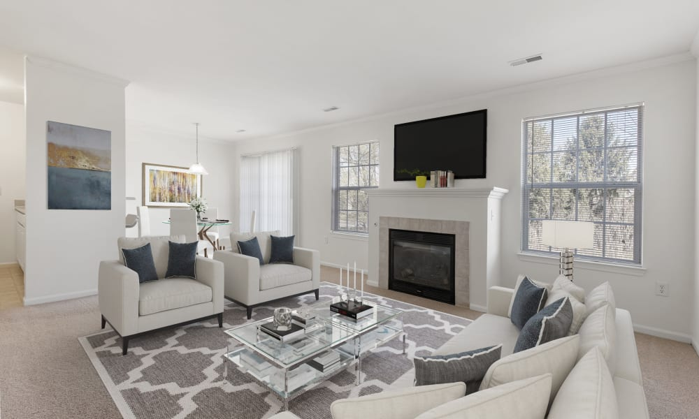 Living room at Brownstones community
