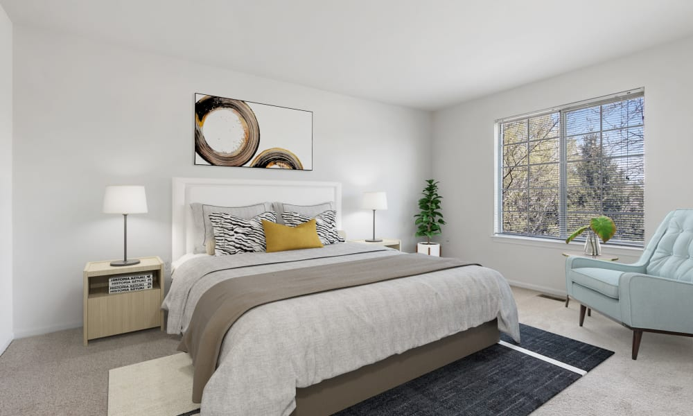 Bedroom at Brownstones apartments