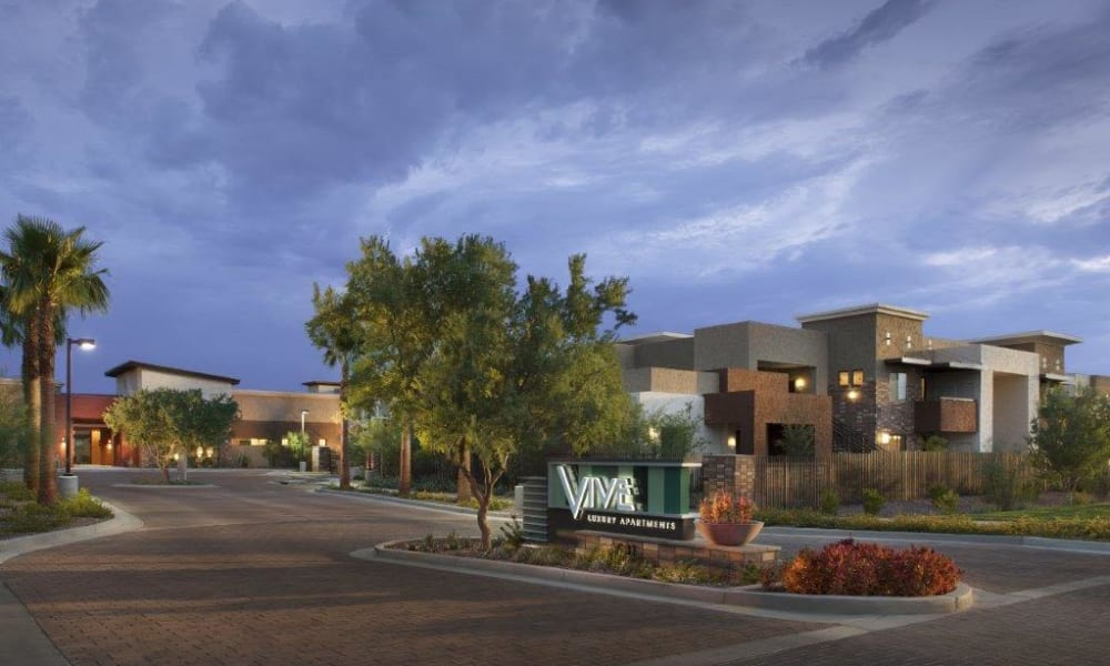 Main entrance to our luxury community at Vive in Chandler, Arizona