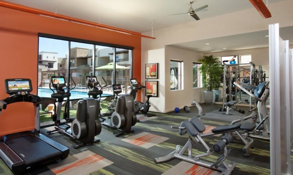 Well-equipped onsite fitness center at Vive in Chandler, Arizona