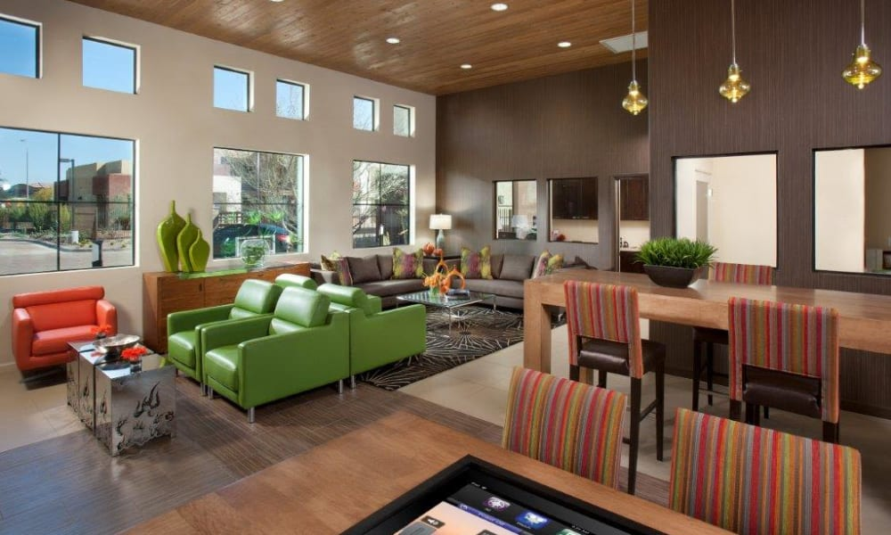 Bright and welcoming lobby interior at Vive in Chandler, Arizona