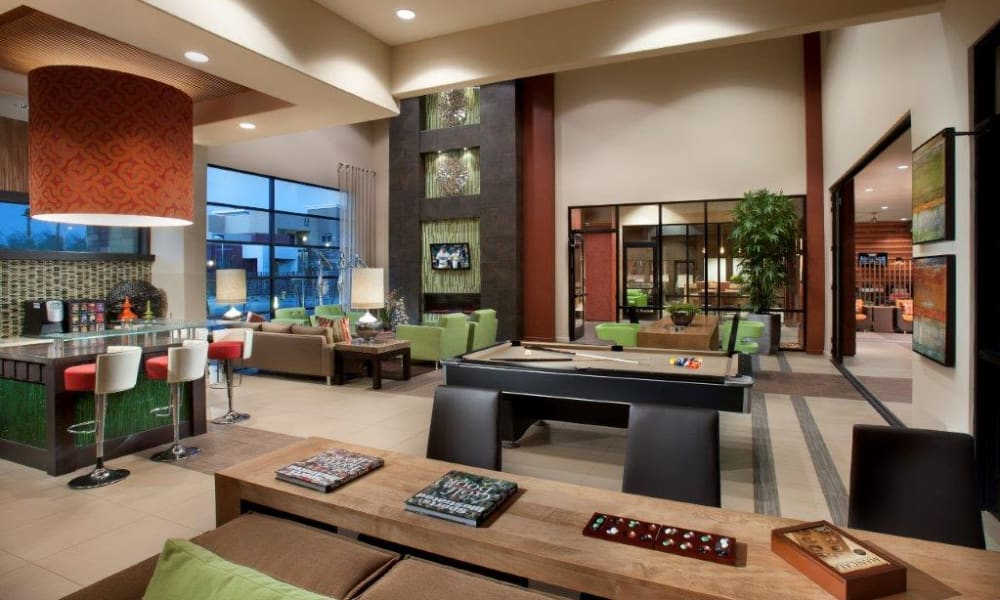 Game room with billiards and more in the clubhouse at Vive in Chandler, Arizona
