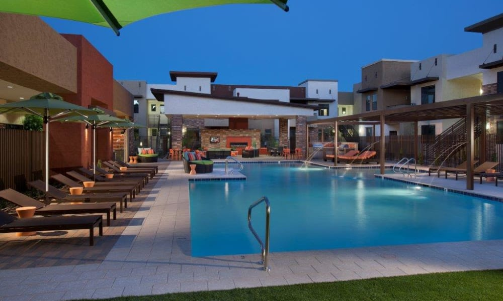 Dusk at the swimming pool area at Vive in Chandler, Arizona